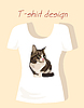 Vector clipart: T-shirt design with tabby cat