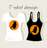 Vector clipart: T-shirt design with black cat