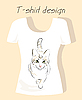 Vector clipart: T-shirt design with outline silhouette cat