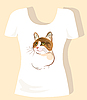 Vector clipart: t-shirt design with ginger cat