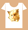 childish t-shirt design with ginger fluffy kitten