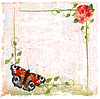 ID 3293720 | Vintage background with red roses, ivy and butterfly | Klipart wektorowy | KLIPARTO