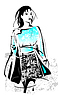 Vector clipart: freehand sketch of shopping girl with bag