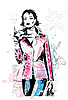 Freehand sketch of fashionable girl | Stock Vector Graphics
