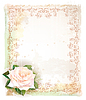 Vector clipart: Vintage frame with rose. Imitation of watercolor