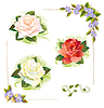 Vector clipart: Set of roses. Vintage style. Imitation of watercolor