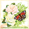 Vector clipart: Butterfly and roses