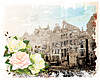 Vector clipart: vintage Amsterdam street and roses. Watercolor s
