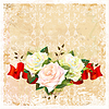 vintage ornamental background with roses and ribbon