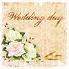 Vector clipart: vintage wedding card with roses and rings