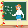 Vector clipart: Back to school. Schoolgirl on lesson of mathematics