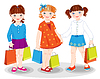 Little girls with bags. Shopping