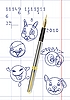Vector clipart: pen with ink doodles