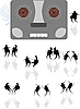 Vector clipart: Dances under the old tape recorder