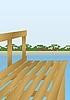 Vector clipart: Footbridge on the river