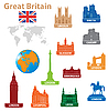 Vector clipart: Symbols of cities in Great Britain