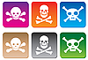 Vector clipart: Danger icons with skulls