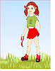 Vector clipart: red girl