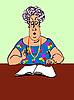 Vector clipart: woman checks up magazine