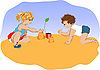 Small children plays in sandbox | Stock Vector Graphics