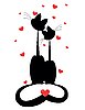 Vector clipart: two cats in love