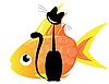 Vector clipart: cat and gold fish