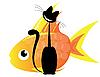 Векторный клипарт: кошка и золотая рыбка