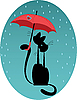 Vector clipart: cats under an umbrella
