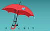 Vector clipart: Eiffel tower under an umbrella