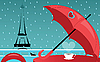 Векторный клипарт: Эйфелева башня и красный зонтик