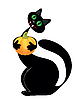 Vector clipart: Black cat with pumpkin