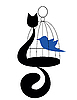 cat with bird in cage