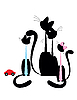 Vector clipart: Cat family - black silhouette