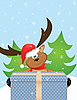 Vector clipart: reindeer with Santa hat