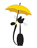 Cat with yellow umbrella | Stock Vector Graphics