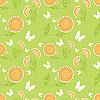 Vector clipart: seamless flower pattern with butterflies
