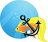 Vector clipart: gold fish and anchor