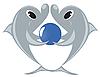 Векторный клипарт: Дельфины с мячом