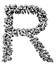 Letter R made from hammered nails | Stock Illustration