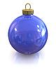 Photo 300 DPI: Blue christmas glossy ball isolated