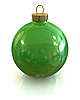 Green christmas glossy ball and shiny isolated | Stock Illustration