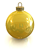 Yellow christmas shiny ball isolated | Stock Illustration