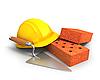 Bricks, trowel and yellow plastic helmet  | Stock Illustration