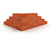 Corner of wall made from red bricks | Stock Illustration