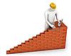 Builder places brick | Stock Illustration