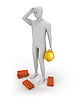 3D white builder tired | Stock Illustration