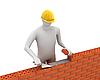 3D white builder lays bricks | Stock Illustration