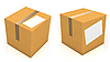 Photo 300 DPI: Carton boxes with blank paper for text