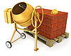Yellow concrete mixer with helmet and bricks | Stock Illustration