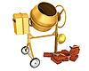 Photo 300 DPI: yellow concrete mixer with helmet and bricks